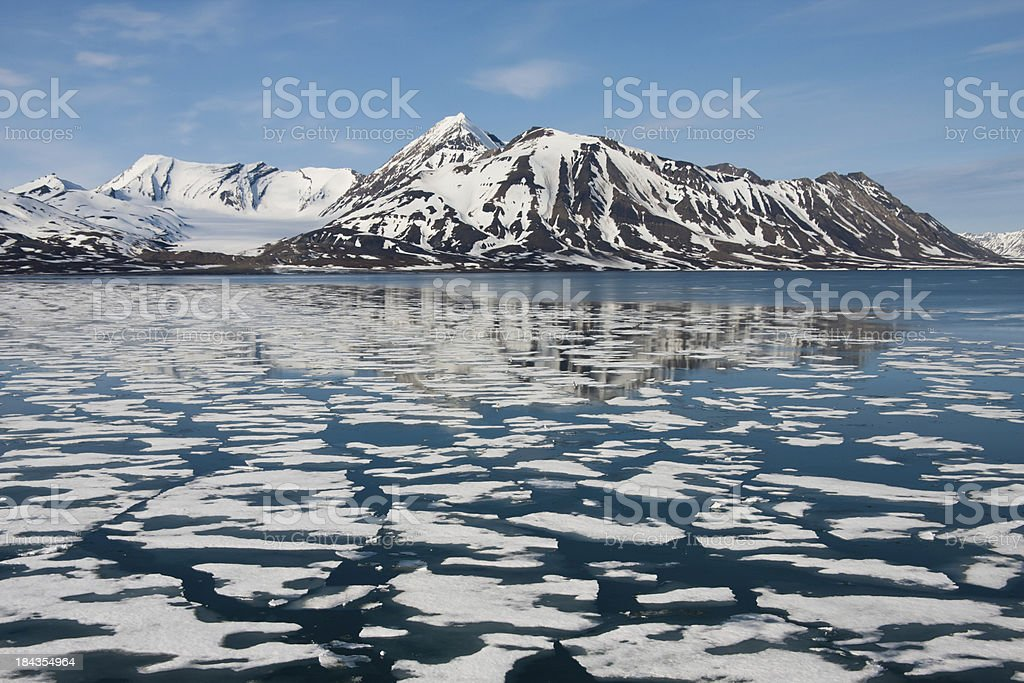 Sea ice around Svalbard in the Arctic stock photo