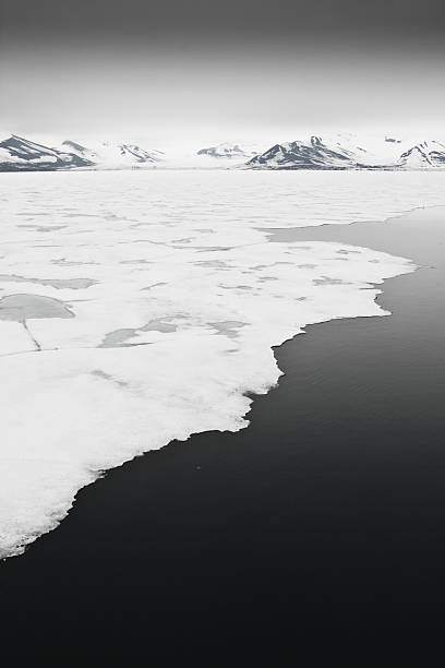 Sea Ice off Svalbard in the Arctic stock photo