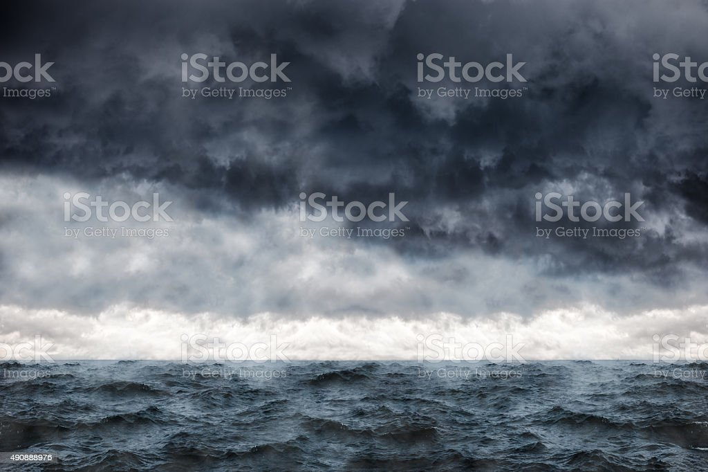 Sea in a storm stock photo