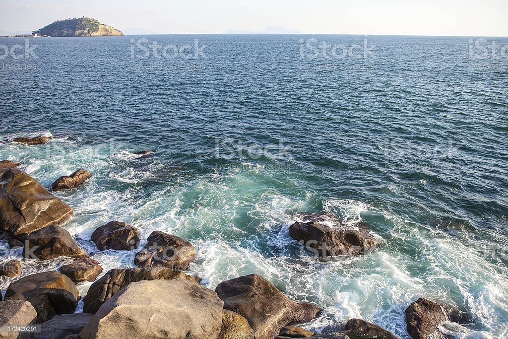 Sea in Bay of Naples royalty-free stock photo