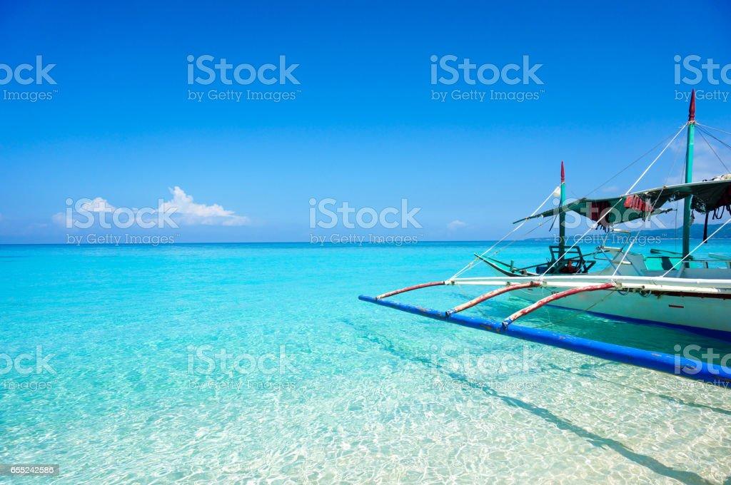 sea in boracay stock photo
