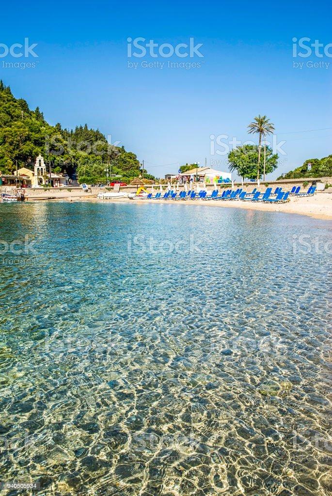 sea in Corfu island in Greece stock photo