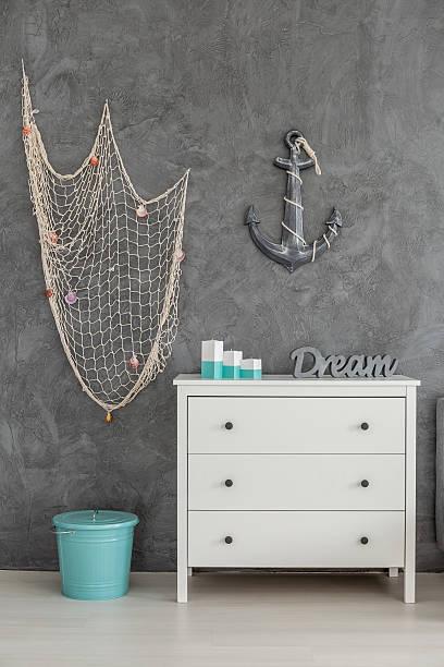 sea inspired interior - nautisches schlafzimmer stock-fotos und bilder