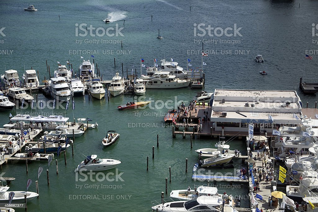 Sea Isle Marina at the Miami International Boat Show stock photo
