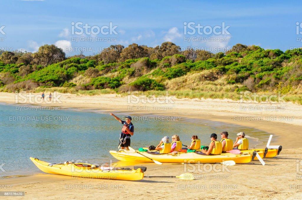 Sea kayaking - Coles Bay stock photo