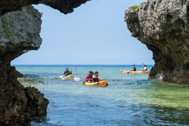 Sea kayaking in Okinawa stock photo