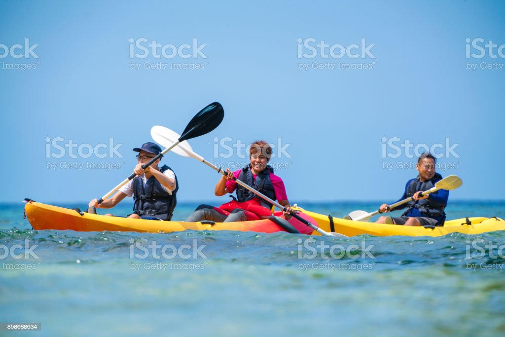 Sea kayaking in Okinawa stock photo