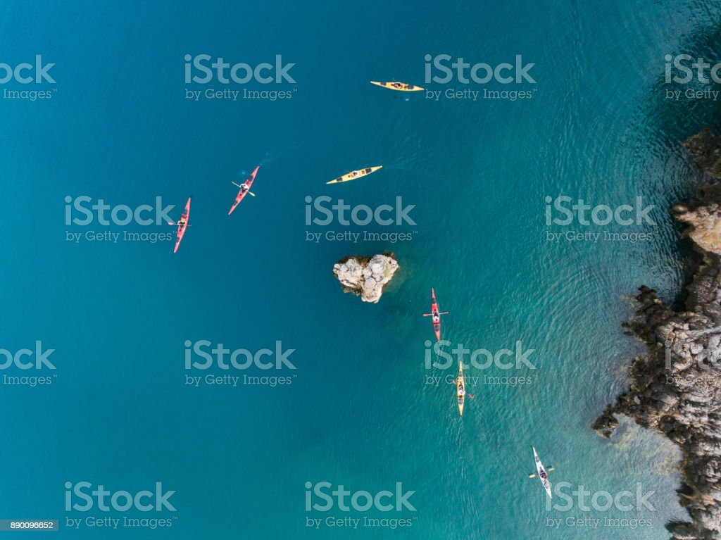 Sea kayaking in the mediterranean stock photo