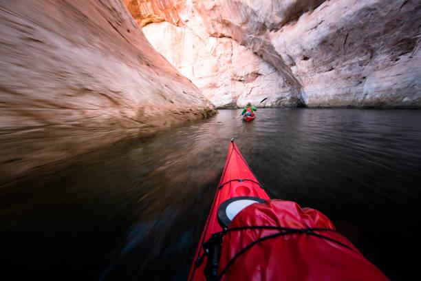 Sea kayaking on Lake Powell stock photo
