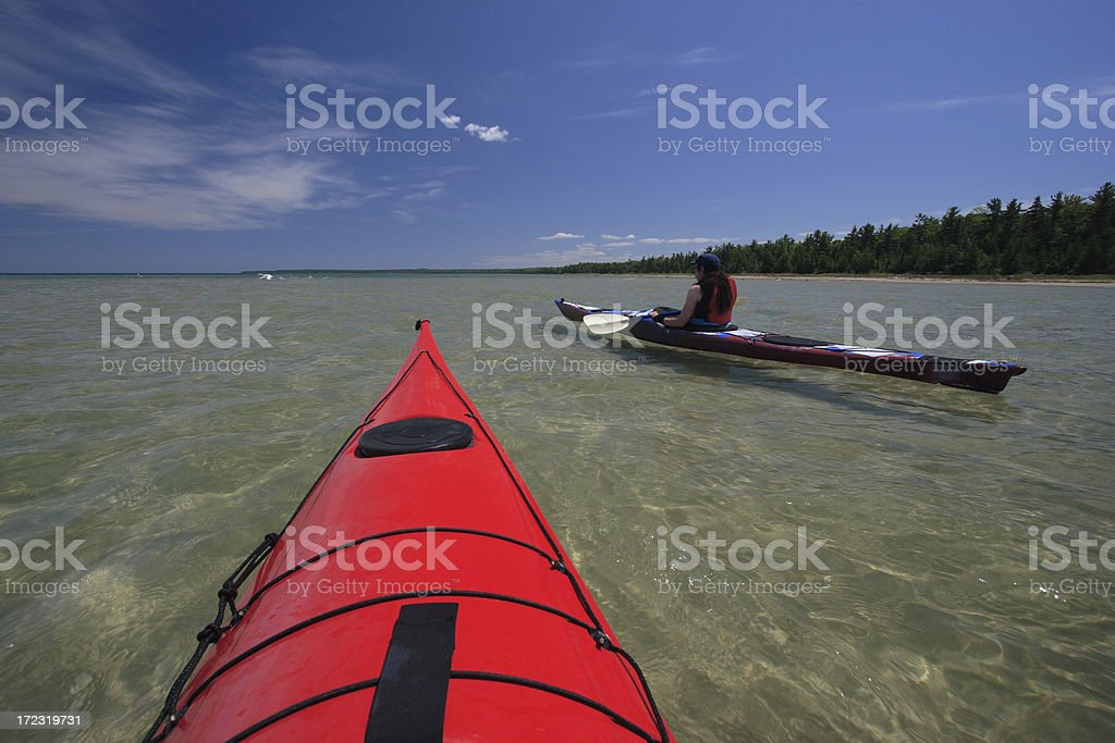 Sea Kayaks in Clear Water royalty-free stock photo