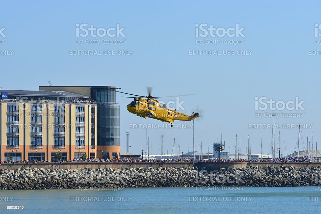 RAF Sea King helicopter, Jersey, U.K. stock photo