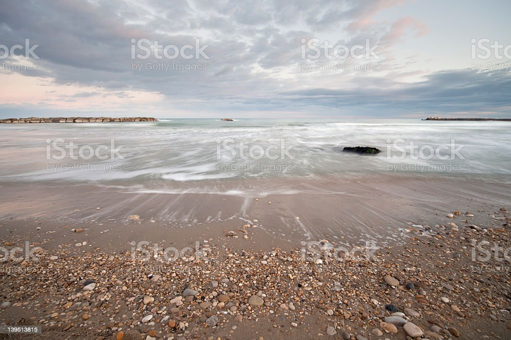 Sea landscape at dusk stock photo