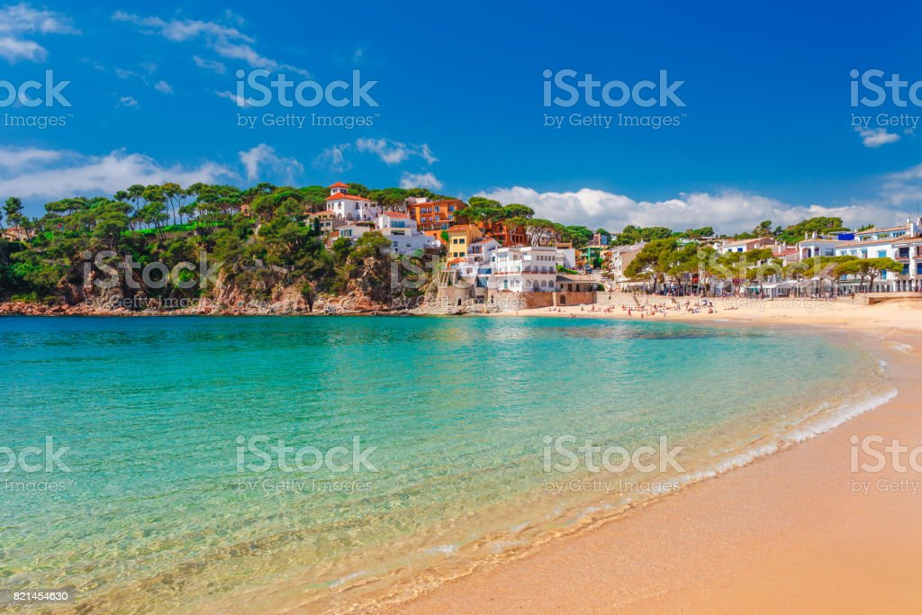 Sea landscape Llafranc near Calella de Palafrugell, Catalonia, Barcelona, Spain. Scenic old town with nice sand beach and clear blue water in bay. Famous tourist destination in Costa Brava stock photo
