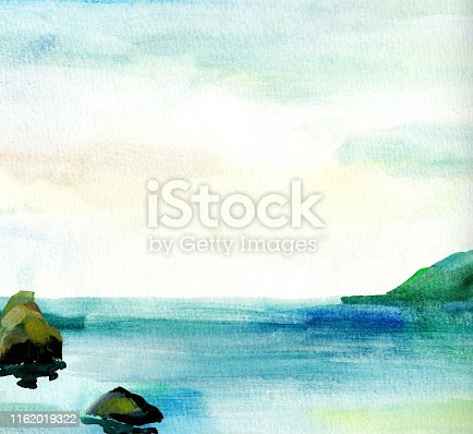 Sea landscape, Sea side, beach, mountains, stones. Beautiful watercolor hand painting illustration.Aquarelle paint paper textured canvas element for copy space, greeting card