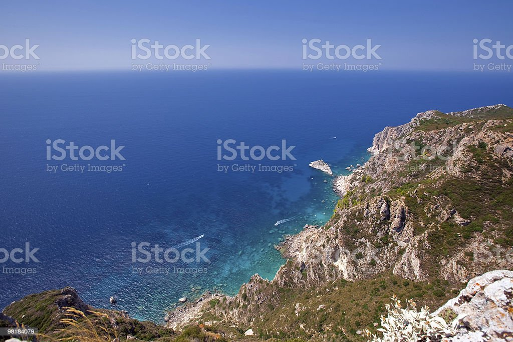 sea landscape. view of Kerkira island royalty-free stock photo