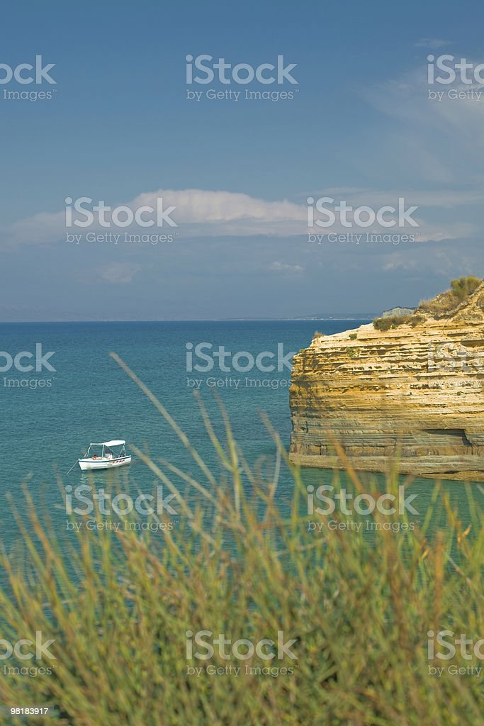 sea landscape with a boat royalty-free stock photo