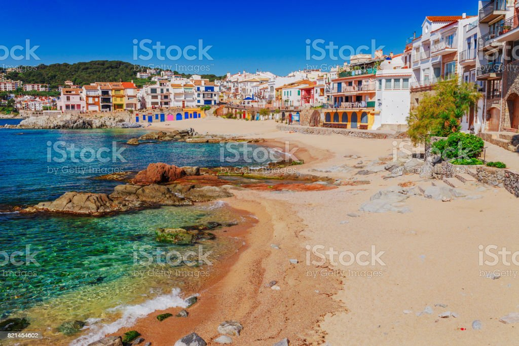 Sea landscape with Calella de Palafrugell, Catalonia, Spain near of Barcelona. Scenic fisherman village with nice sand beach and clear blue water in nice bay. Famous tourist destination in Costa Brava stock photo