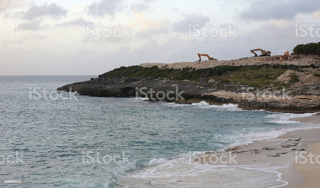 Sea landscape with excavators royalty-free stock photo