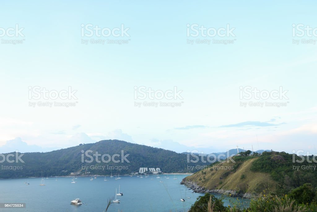 Sea landscape with mountains and sailing ships royalty-free stock photo