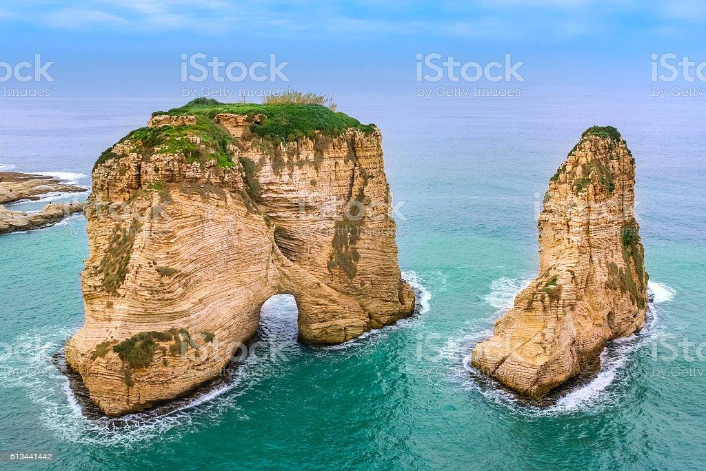 Sea Landscape with Pigeons Rock Beirut Lebanon stock photo