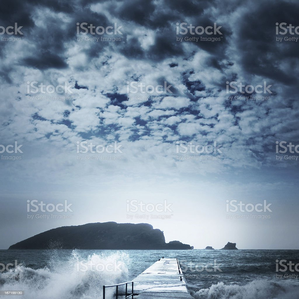 Sea landscape with storm waves royalty-free stock photo