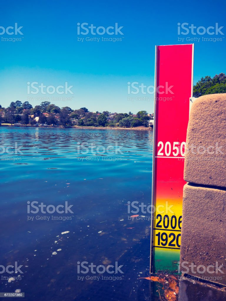 Sea level rise indicator placed on Sydney Harbour. stock photo