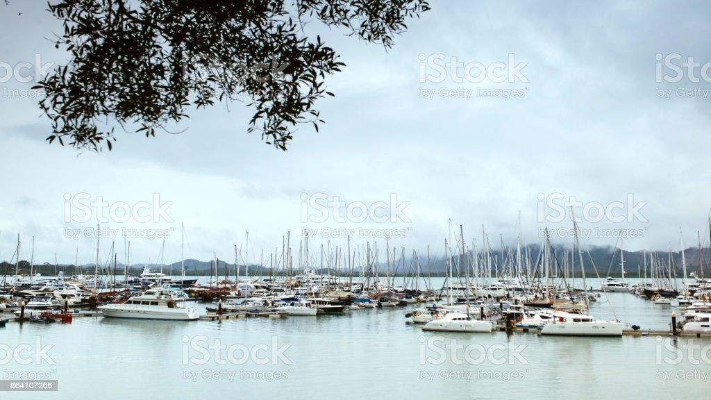 Sea marina in the rain royalty-free stock photo