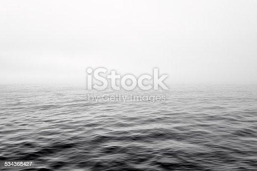 Dramatic gray mist clouds over sea wave. Horizon, half sea, mist