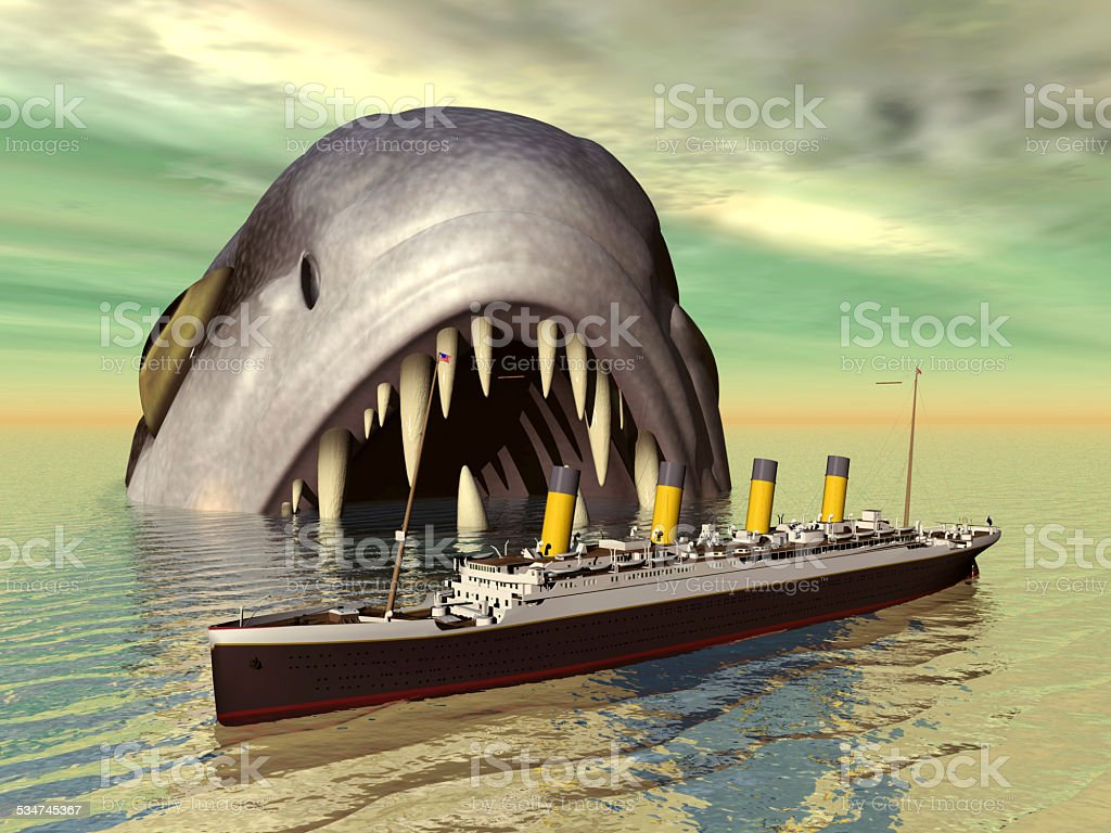 Sea monster and ocean liner stock photo