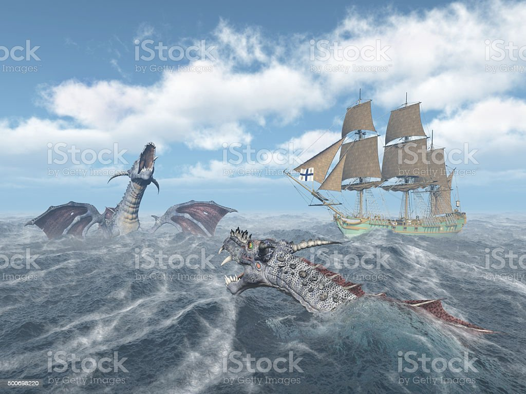 Sea monsters and sailing ship stock photo