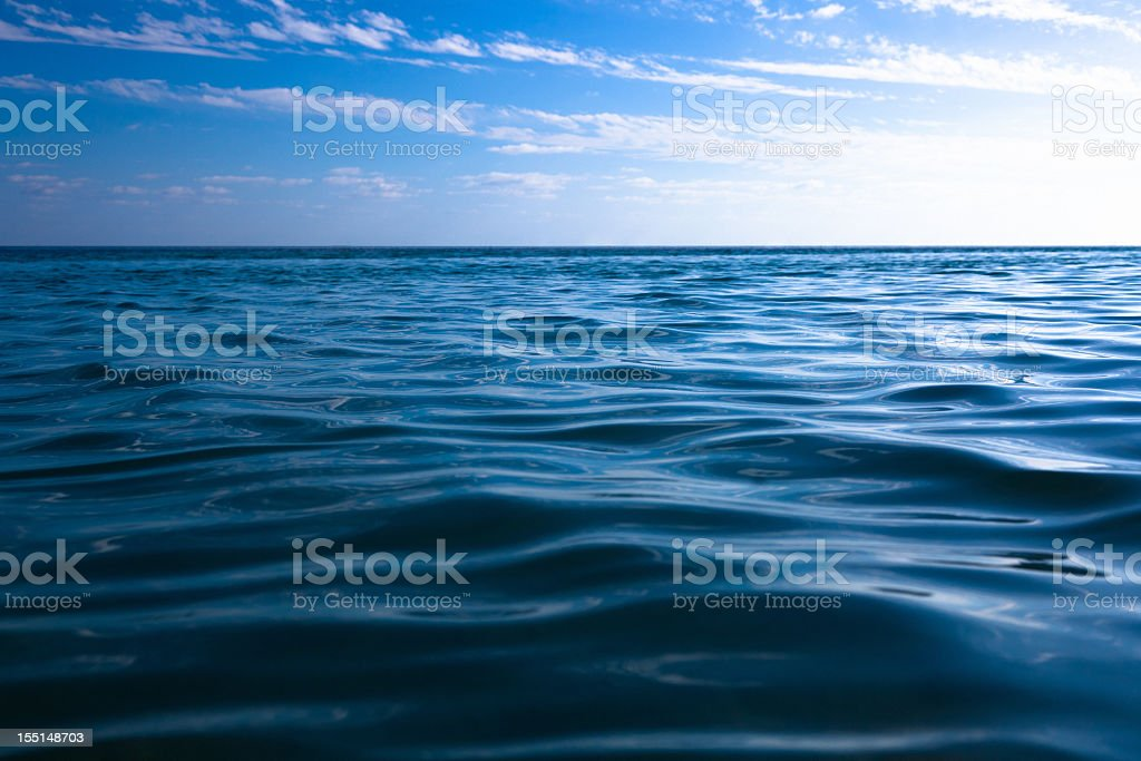 Sea Ocean Background Blue Water Sky Clouds Nobody royalty-free stock photo