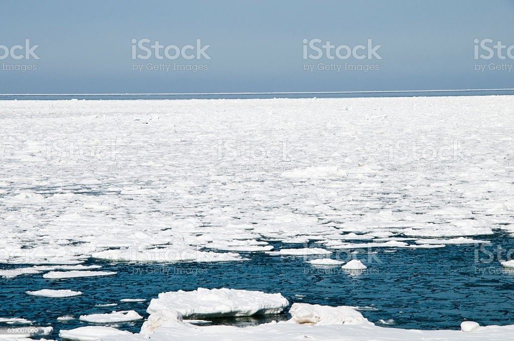 Sea of a drift ice stock photo