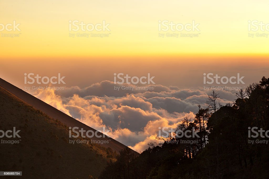 Sea of Clouds at Sunset stock photo