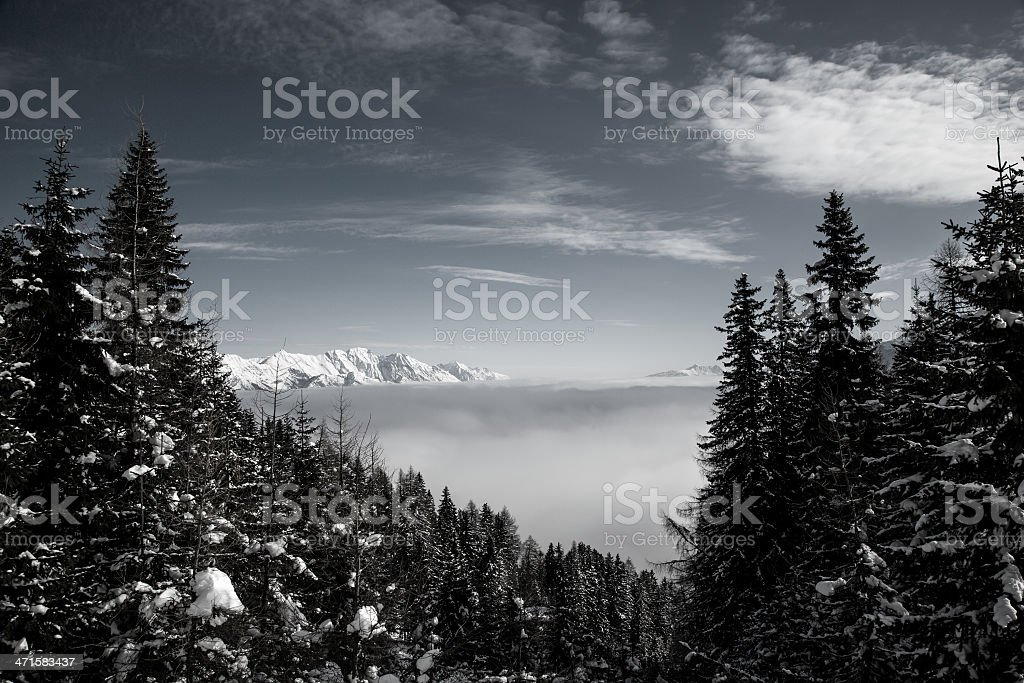 Sea of clouds in the valley below. royalty-free stock photo