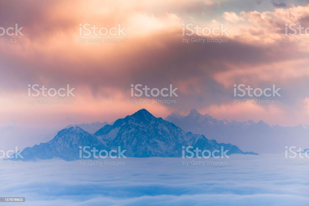 sea of clouds landscapes in china royalty-free stock photo