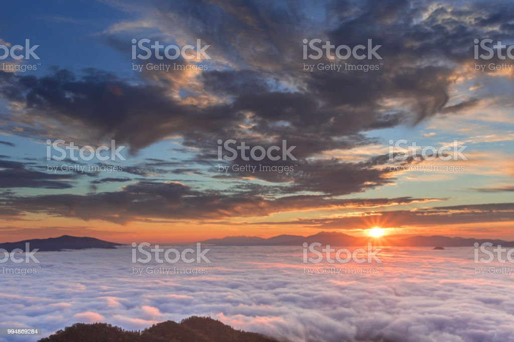 津別峠の雲の海 ストックフォト