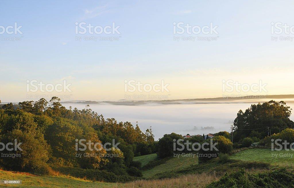 Sea of fog at dawn royalty-free stock photo