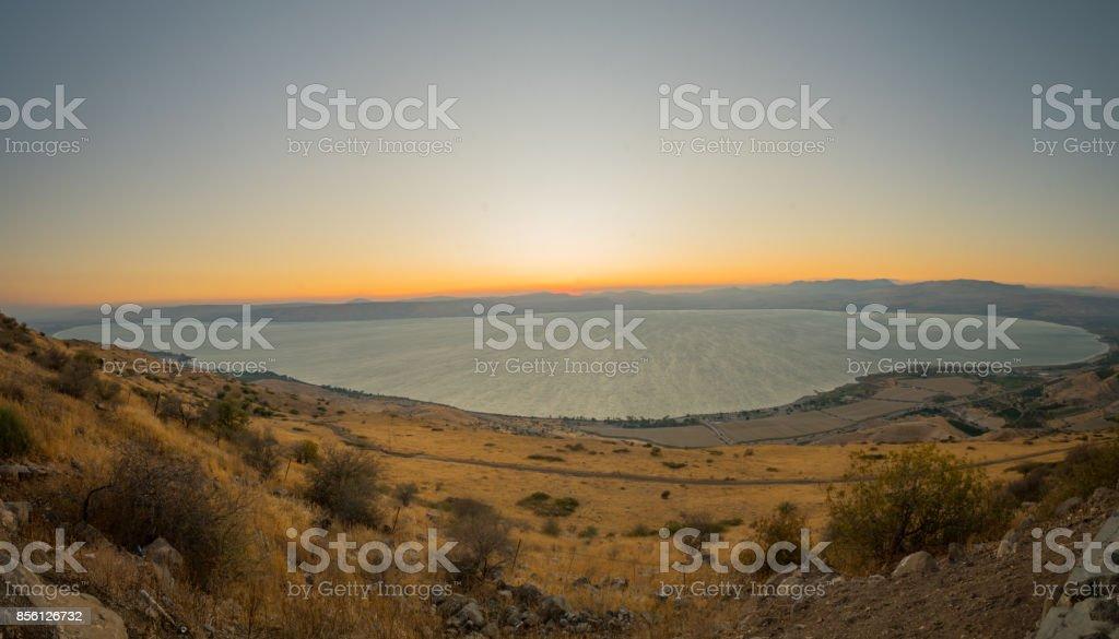 Sea of Galilee (the Kinneret lake), at sunset stock photo