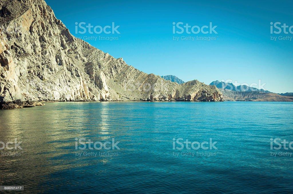 Sea of Musandam peninsula , December 2013, Oman stock photo