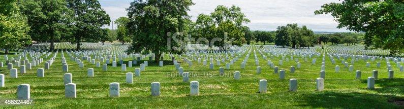 Arlington, Virginia, USA - May 20th. 2012: Multitude of tombstones shaded by the trees at Arlington National Cemetery, Virginia, USA.