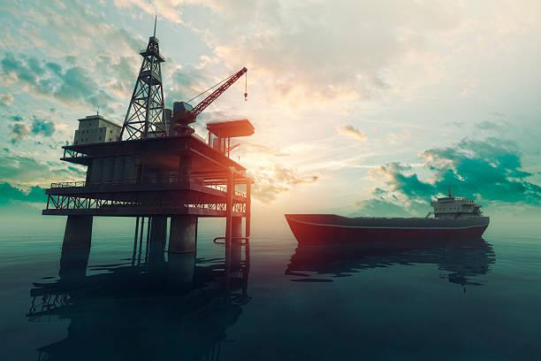 Sea Bohrinsel mit nähern tanker Schiff bei Sonnenuntergang – Foto
