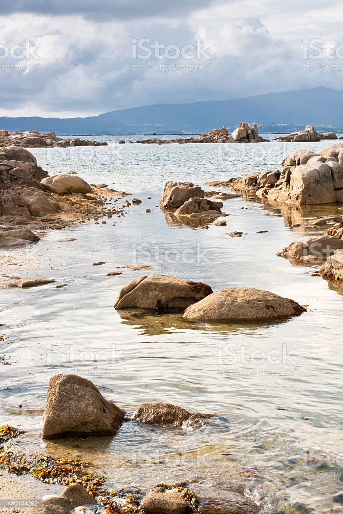 Sea on the rocks stock photo