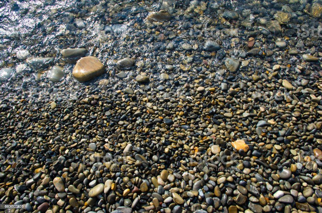 sea pebble beach with multicoloured stones, waves with foam foto de stock royalty-free