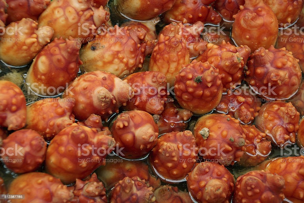 Sea pineapple (sea squirt) for sale at a seafood market. stock photo