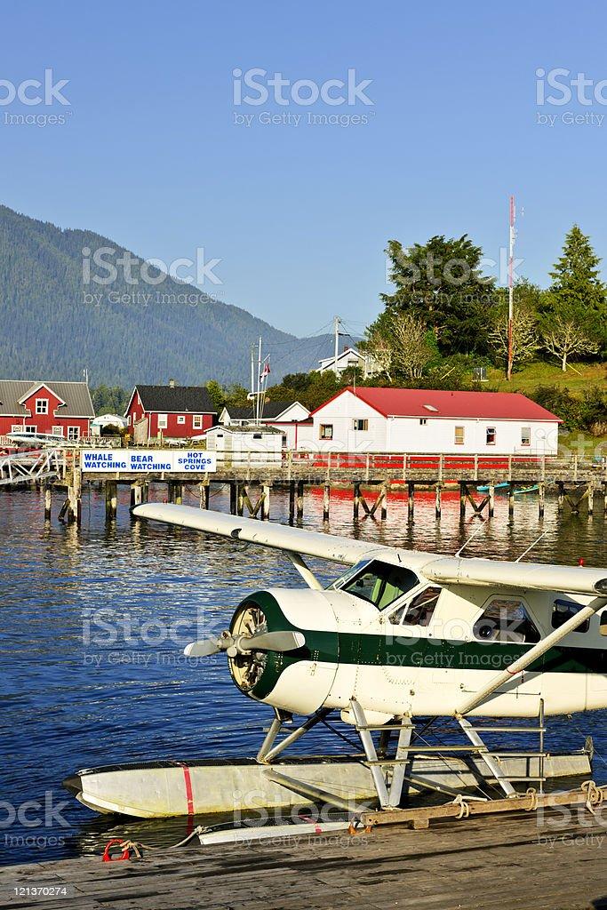 Sea plane at dock in Tofino, Vancouver Island, Canada stock photo
