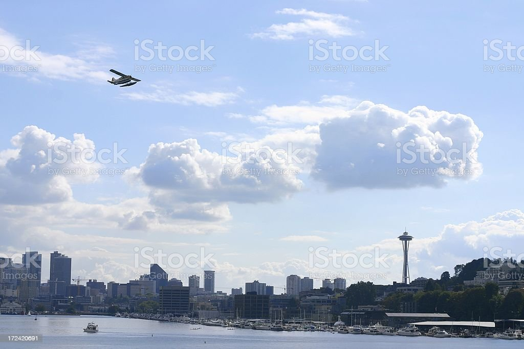 Sea Plane Over the Space Needle royalty-free stock photo