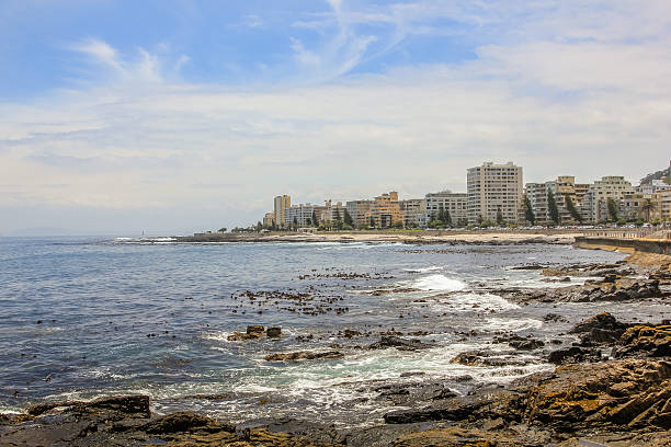 Sea Point Cape Town Panoramic view of Sea Point, one of Cape Town's most affluent and densely populated suburbs, located between Signal Hill and the Atlantic Ocean in South Africa. hout stock pictures, royalty-free photos & images