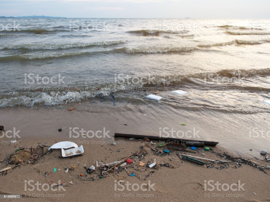 Sea pollution,Dirty beach. stock photo