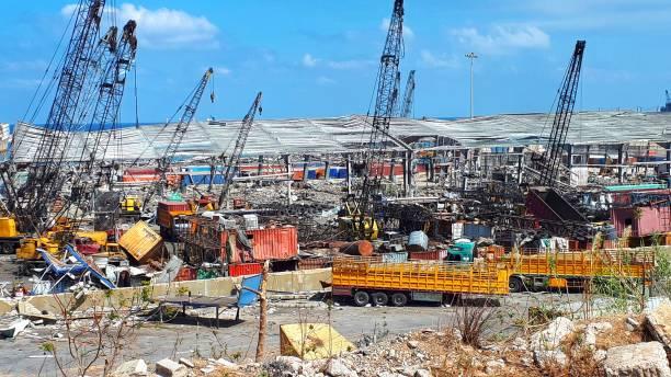 貝魯特爆炸後海港。 - beirut explosion 個照片及圖片檔