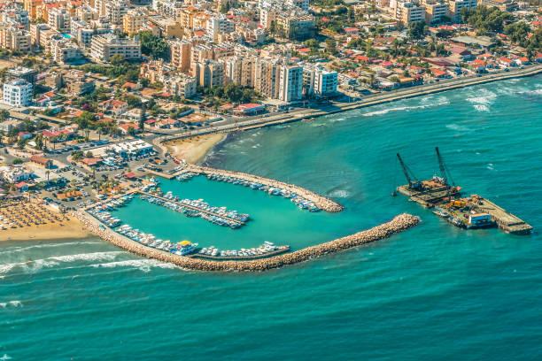 sea port city of larnaca, cyprus. - cyprus стоковые фото и изображения